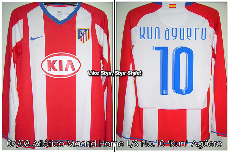 07/08 Atletico Madrid Home L/S No.10 'Kun' Aguero - UEFA CUP