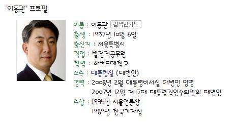 이동관 청와대 대변인의 프로필