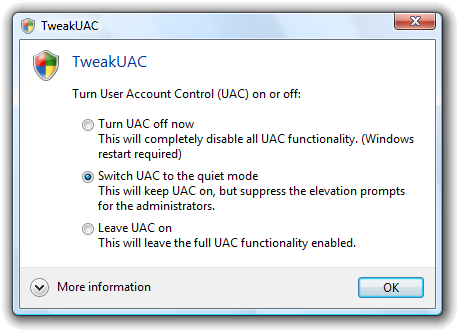 Tweak UAC Window